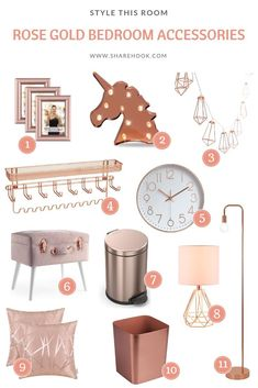 Rose Gold Bedroom Accessories In 2020 Gold Bedroom Decor With Regard To Awesome Rose Gold Room Decor Rose Gold Bedroom Accessories, Room Decor Bedroom Rose Gold, Rose Gold Rooms, Rose Gold Decor, Room Ideas Bedroom, Girl Bedroom Designs, Pink Gold Bedroom, Gold Office Accessories, Bed Room