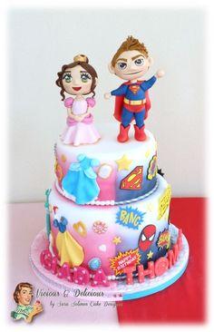 Half Birthday Cakes, Avengers Birthday Cakes, Bithday Cake, Joint Birthday Parties, Superhero Birthday Cake, Smash Cake Girl, Girl Cakes, Different Kinds Of Cakes, Twins Cake