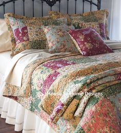 antique country full queen quilt set 100 cotton green red gold floral chic