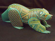Jacobo Angeles Green Multi Colored Bear Alebrije Carving RARE HOTT L@@K