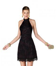 Fairy-tale A Line Halter Mini Organza Black Cocktail Dress a78f5c0f40b4