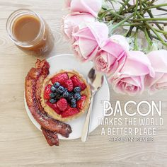 Bacon makes the world a better place. Brunch Wedding, Camembert Cheese, Bacon, How To Make, Food, Meals