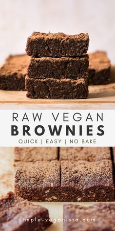 Raw Vegan Brownies made with almonds, coconut, cocoa powder, dates and vanilla are a healthy and delicious snack or dessert! No baking required for these raw brownie bites and they store well too! Raw Vegan Brownies, Healthy Vegan Desserts, Raw Desserts, Raw Vegan Recipes, Vegan Treats, Healthy Dessert Recipes, Vegan Snacks, Baking Recipes, Paleo
