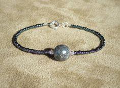 Labradorite Bracelet, Black Labradorite, Gemstone Bracelet, Beaded Bracelet, Black Bracelet, Skinny Bracelet by ThreeMagicGenies on Etsy