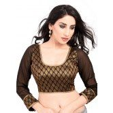 3-4th-georgette-sleeve-and-brocade-body-readymade-stitched-blouse-from-muhenera-186vamas