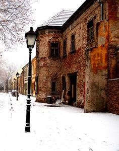 A magical shot of Trnava, Slovakia. The contrast between the snow and the brickwork is wonderful.
