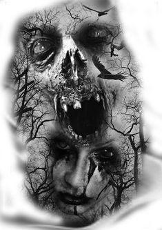 Creepy Tattoos, Skull Tattoos, Body Art Tattoos, Tattoo Drawings, Sleeve Tattoos, Cool Tattoos, Arte Horror, Horror Art, Dark Fantasy Art