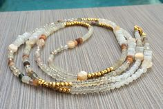 Boho Long Beaded Necklace Semi Precious Gemstone by LoveandLulu