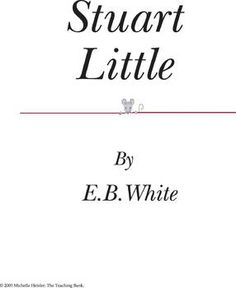 This is a custom written literature unit to be used with Stuart Little by E.B. White.This unit is designed to be used with some student/instructo...