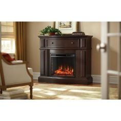 Home Decorators Collection Ludlow 44 in. Media Console Electric Fireplace TV Stand in Burnished - The Home Depot Home, Small Fireplace, Fireplace Hearth, Wood Fireplace, Home Decorators Collection, Master Bedroom Sitting Area, Natural Gas Fireplace, Fireplace Tv Stand, Family Room Fireplace