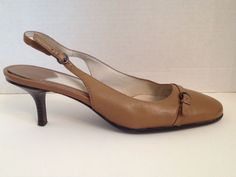 Aerosoles Shoes Womens Size 7.5 M Tan Slingbacks Leather 7 1/2 Winword #Aerosoles #Slingbacks #WeartoWork