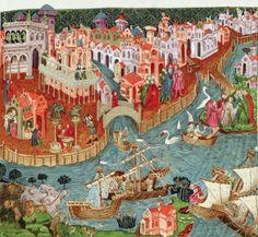 Marco Polo saindo em navio de Veneza, em 1271.  Detalhe de iluminura de um manuscrito do século XV, na Biblioteca Bodleian, na Universidade de Oxford.