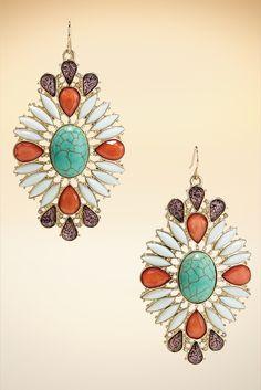 Faux Turquoise Burst Earrings #BostonProper #Jewelry #Accessories