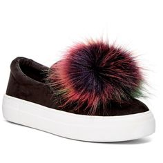 cd48d76f3a0e11 Steve Madden Great Faux Fur Pompom Platform Sneaker (275 SEK) ❤ liked on  Polyvore