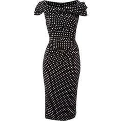 Pied a Terre Polka dot slinky knot dress ❤ liked on Polyvore