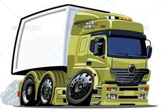 Vector Cartoon Cargo Truck - Man-made Objects Objects