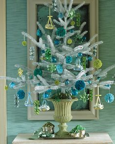 turquoise & green tree  White Tree with Hanging-Basket Ornaments  An assortment of colorful candy holders and basket ornaments creates a striking effect against a white tree.  How to Make the Hanging-Basket Ornaments Blue Christmas Decor, Turquoise Christmas, Coastal Christmas, Christmas Tree Decorations, White Christmas, Beautiful Christmas, Christmas Holidays, Christmas Trees, Merry Christmas