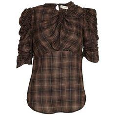 Isabel Marant Etoile Ilma checkered draped sleeve blouse