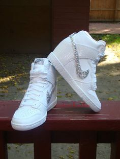 Custom Bling Rhinestone White Croc Snake Nike Dunk Sky Hi Wedge Sneaker Nike Wedge Sneakers, Nike Wedges, Sneaker Heels, Wedge Shoes, Black Eyed Peas, Cute Shoes, Me Too Shoes, Wedge Wedding Shoes, Baskets