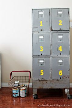 love the DIY pop of color on this vintage industrial cabinet. I need one of these!