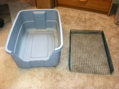 Cat Training Litter Box Hi everyone! We have been getting many requests on how to build the non-diggable litter box. One of our supporters came up with this idea . Rabbit Litter Box, Dog Litter Box, Puppy Litter, Pet Rabbit, Litter Box Training Rabbits, Indoor Rabbit, Bunny Cages, Mini Pigs, House Rabbit