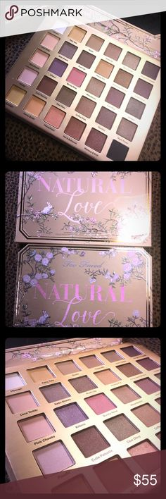 Too Faced Natural Love Pallet BRAND NEW • OFFERS WELCOME • Too Faced natural Love eyeshadow pallet. Full of shimmering high pigment colors from your neutral colors to your dark bold fun colors. This pallet is everything.   bundle w other beauty products for a fabulous deal  Too Faced Makeup Eyeshadow