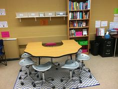 Middle school guided reading, literature circle, and guided writing area for small group work in the classroom. #differentiation