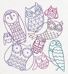 Hoot Owls Collage | Urban Threads: Unique and Awesome Embroidery Designs