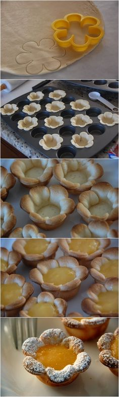Flower shaped Mini Lemon Curd Tarts are perfect for a Bridal or Baby shower!     Ingredients   Mini Lemon Tarts:  1 unbaked pie crust  1 jar...