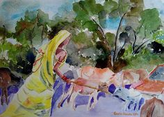 #art, #painting #watercolor #india #concept #conceptual #original #painting #grazing #cattle #cowherd #cowgirl #saree #developing #country #healthandsafety #artprint at $27