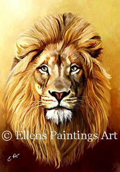 Schilderij van een leeuw