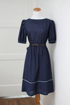 Vintage Navy Blue Striped Dress Small