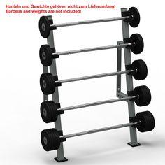 Kompakthantelablage zur Wandmontage, für 5 Langhanteln. Schnell zugreifen: http://www.megafitness-shop.info/Kraftsport/Hanteln-Gewichte/Hantelstaender-Ablagen/Kompakthantelablage-5-fach-Wandbefestigung--3542.html