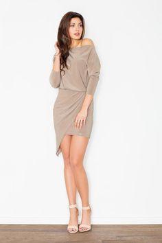 Stylish Beige Unsymmetrical Mini Dress For Women LAVELIQ
