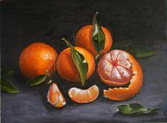 Still life Painting, Still Life with Mandarines, Tangerine Painting, Original still life Oil Painting, Fruits on canvas, Home decor
