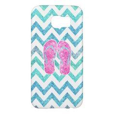 Pink Glitter Flip Flops Teal Aqua Chevron Pattern Samsung Galaxy S6 Cases by Girly Trend