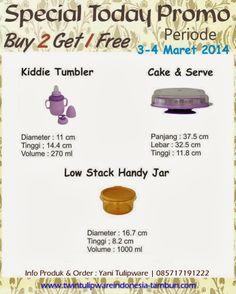 Promo Tulipware 2 Free 1 : Low SHJ - Stack Handy Jar, Kiddie Tumbler, Cake N Serve