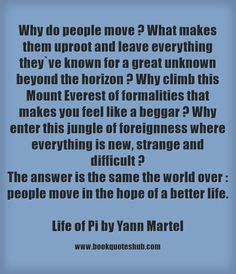Why do people move ? What makes them uproot and leave everything they`ve known for a great unknown beyond the horizon ? Why climb this Mount Everest of formalities that makes you feel like a...