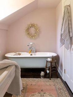 This pink country bathroom, featuring pink walls in Farrow & Ball Calamine and ebony wood floors dressed in a pink wool rug, boasts a freest. Farrow Ball, Inspiration Design, Bathroom Inspiration, Design Ideas, Bathroom Colors, Small Bathroom, Master Bathroom, Blush Bathroom, Attic Bathroom