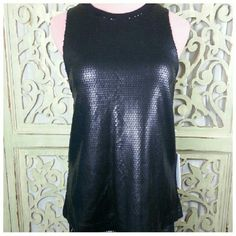"One Teaspoon Sequin Santana Top Matte black long sequin tank with round neck and dropped armholes. Pullover styling, fully lined. Poly/cotton, hand wash. Length 24"", width at armholes 17.5"", hem 20"". Also available in size M, see separate listing. One Teaspoon Tops"