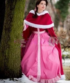 Women Beauty And The Beast Halloween Red Cloak Leisure Belle Cosplay Pink Dress