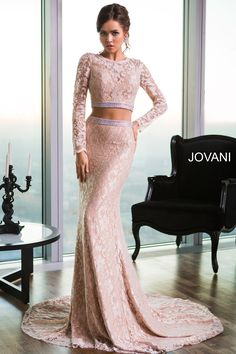 Long Sleeve Two-Piece Dress 26335: Gorgeous long sleeve lace two-piece dress features crystal embellishments. #prom
