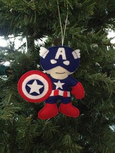 Captain America Felt Ornament by HebCrafts on Etsy