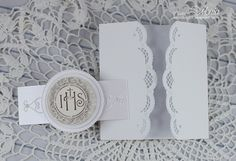 handmade First Communion card from My paper land . gate fold with lacy edges . luv the die cut medallion on the belly band . First Communion Cards, Holy Communion Invitations, First Holy Communion, Confirmation Cards, Baptism Cards, Scrapbook Cards, Scrapbooking, Handmade Invitations, Diy Envelope