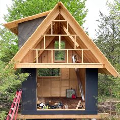 The RavenHouse Mini   Etsy Honeymoon Cabin, Play Fort, Backyard Office, Construction Drawings, Cabin Design, Detailed Drawings, Loft Spaces, Cabin Plans, Skylight