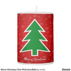 Merry Christmas Tree With Snowflake Pillar Candle Christmas Tree Design, Christmas Holidays, Merry Christmas, Christmas Ornaments, Star Of Bethlehem, Light Switch Covers, Yule, Pillar Candles, Snowflakes