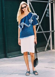 A Very Modern Take on the One-Shoulder Silhouette   Street Style
