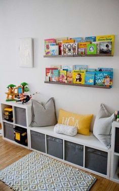 IKEA storage is king in this play room. The book rail displays colorful and beloved children's books in the kids' playroom. Kids Bedroom Storage, Playroom Storage, Kids Room Organization, Wall Storage, Storage Ideas, Playroom Ideas, Diy Bedroom, Nursery Storage, Trendy Bedroom