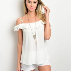 Ruffle Off Shoulder a Tank Top Sizes: S M L  Leave comment with size  to purchase.   Lightweight top featuring an off the shoulder design and ruffle trim Tops Blouses