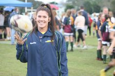 Australian Sevens player Charlotte Caslick at the presentation ceremony who inspired the girls to aim for the Rio Olympics where Sevens rugby will be an official sport. Garra, Just Girl Things, Portrait Inspiration, My Goals, Rugby, Olympics, Nike Jacket, Rio, Charlotte